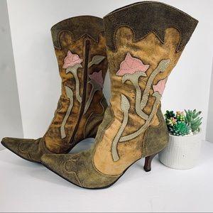 Matisse Distressed Brown Floral Heel Cowboy Boots